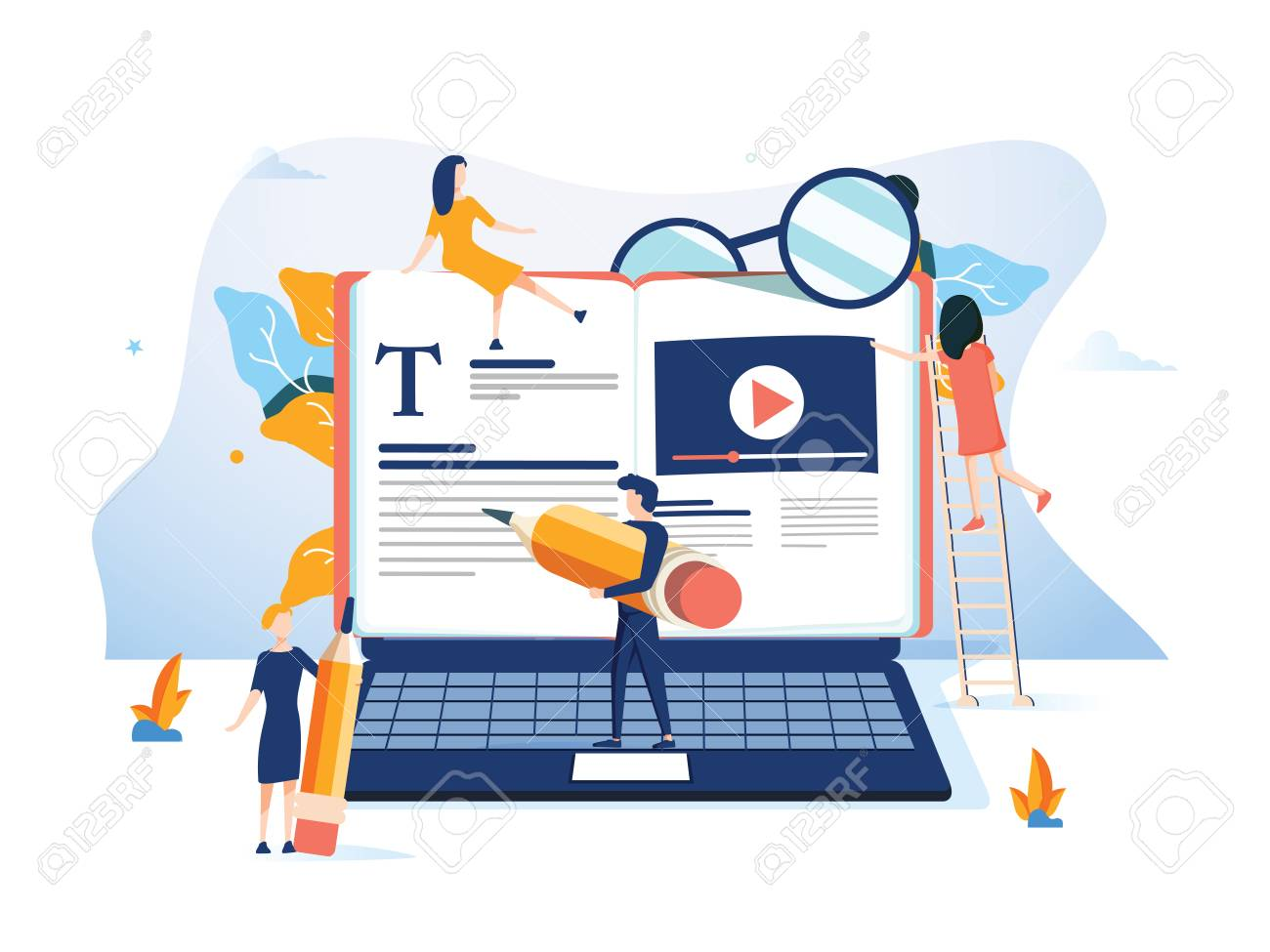 Concept Professional training, education video tutorial for web page, banner, presentation, social media documents. online business courses, presentation Vector illustration Expertise skill podcast - 127315465