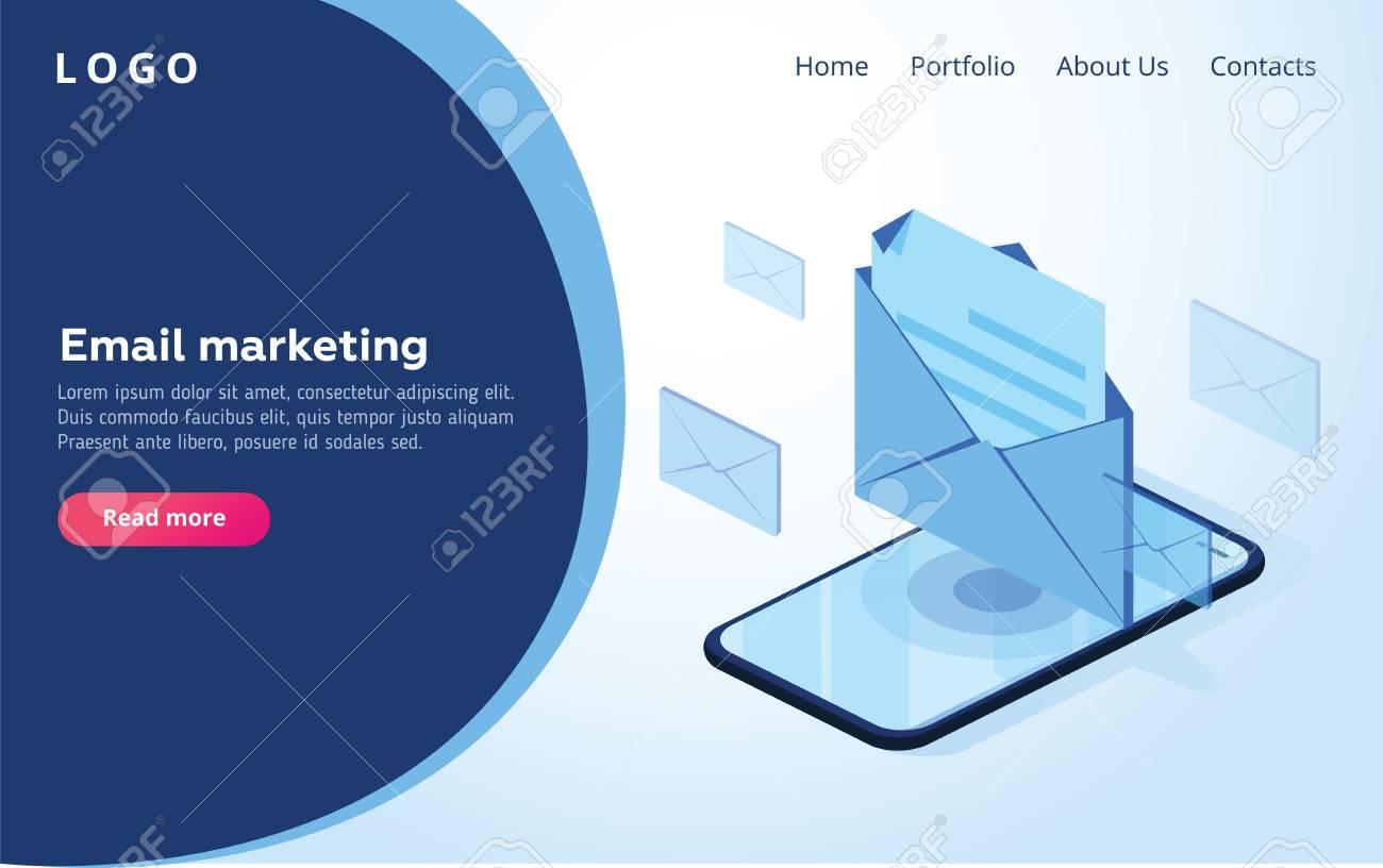 Header for website. Homepage. Concept of mobile email notification. Communication, distribution of information, sending of email. 3d isometric design. Vector illustration. Email or smm marketing web - 127315467