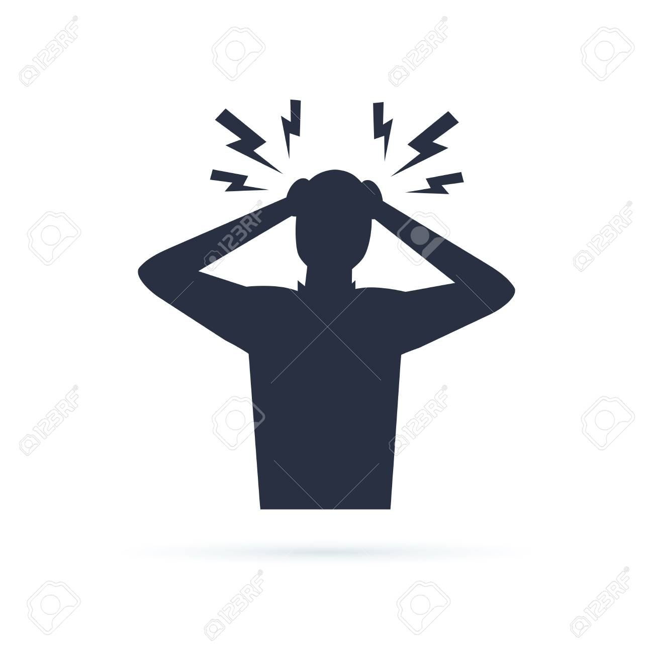 Headache glyph icon. Silhouette symbol. Anger and irritation. Frustration. Nervous tension. Aggression. Occupational stress. Emotional stress symptom. Negative space. Vector isolated illustration - 127315468