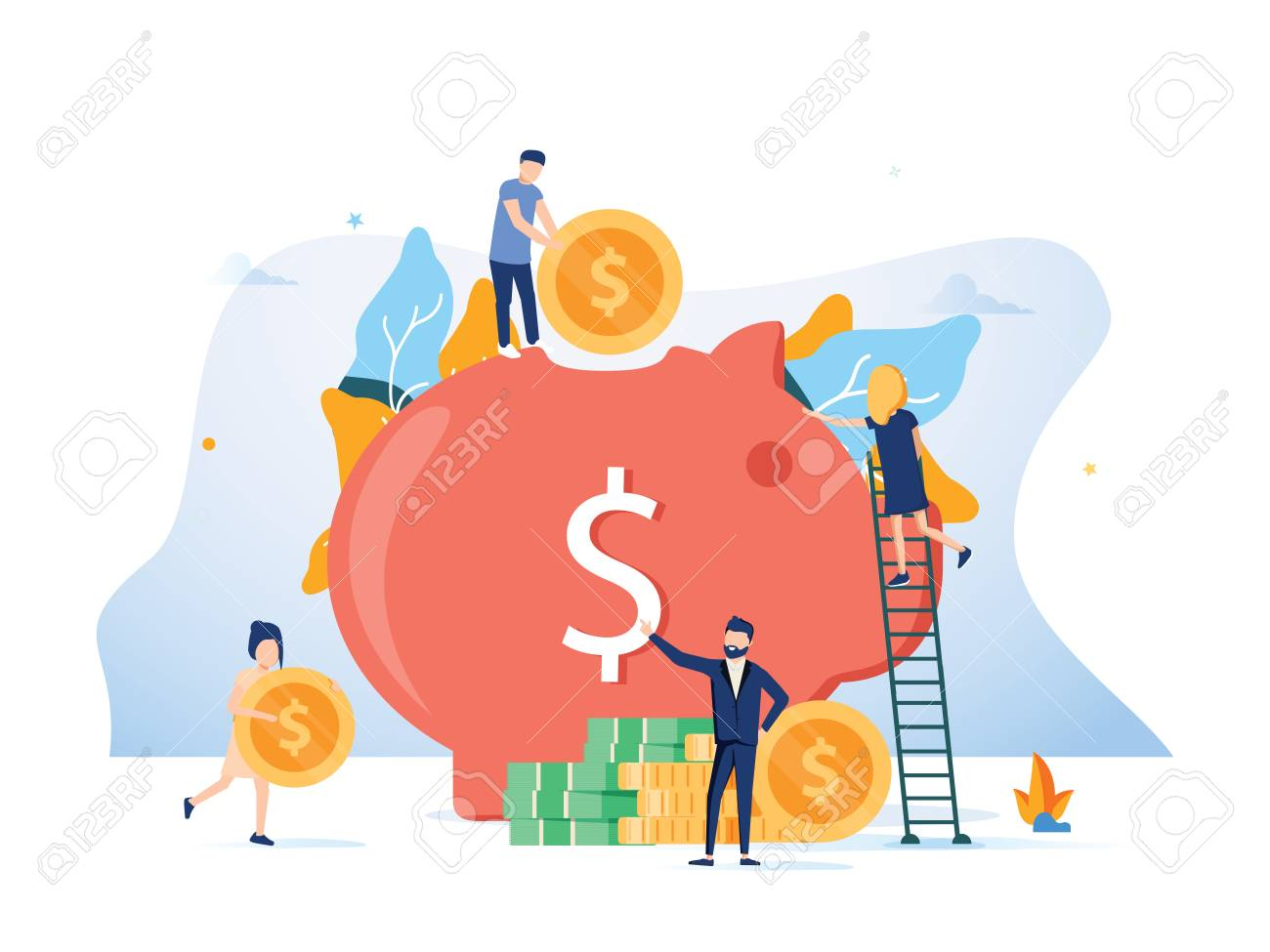 Vector flat illustration for web page or banner. Documents presentation, social media cards, posters of closed bank safe, dollars in a deposit box and a cash piggybank., safe savings, bank employees - 127315470