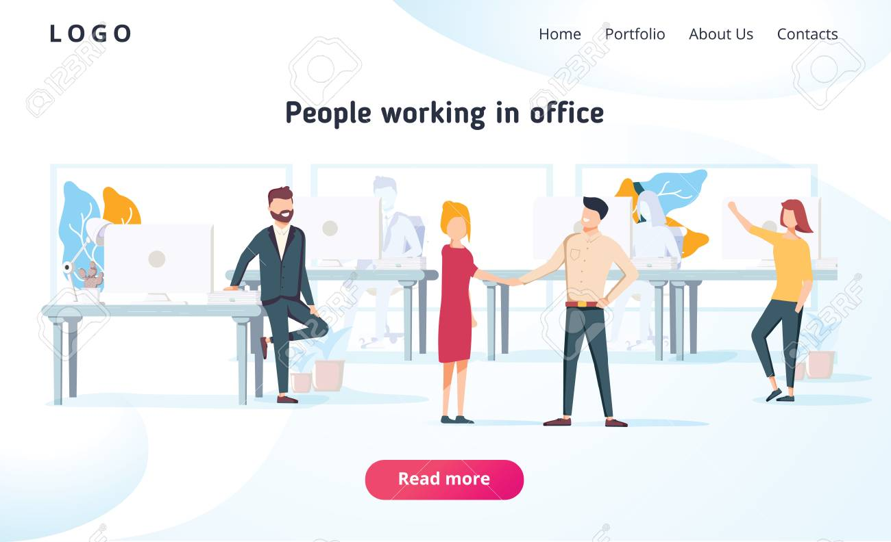 People work in a office and interact with devices. Business, workflow management and office situations. Landing page template. Flat vector illustration. Business brainstorming corporate teamwork. - 127213206