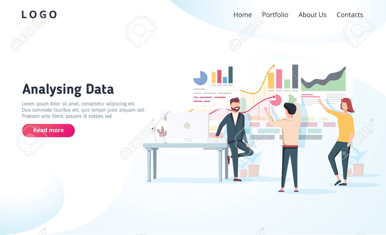 People interacting with charts and analysing statistics. Vector data visualisation concept. Vector illustration. Team analysing tool business concept. Teamwork software for time management interface - 127213207