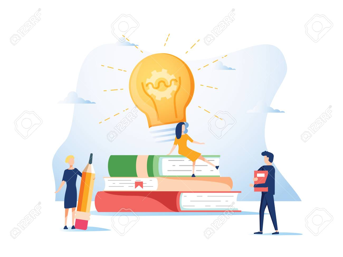 Concept idea, raising a career to success for web page, banner, presentation, social media, documents, cards, posters. Vector illustration the company is engaged in teamwork, online assistant at work - 127213209