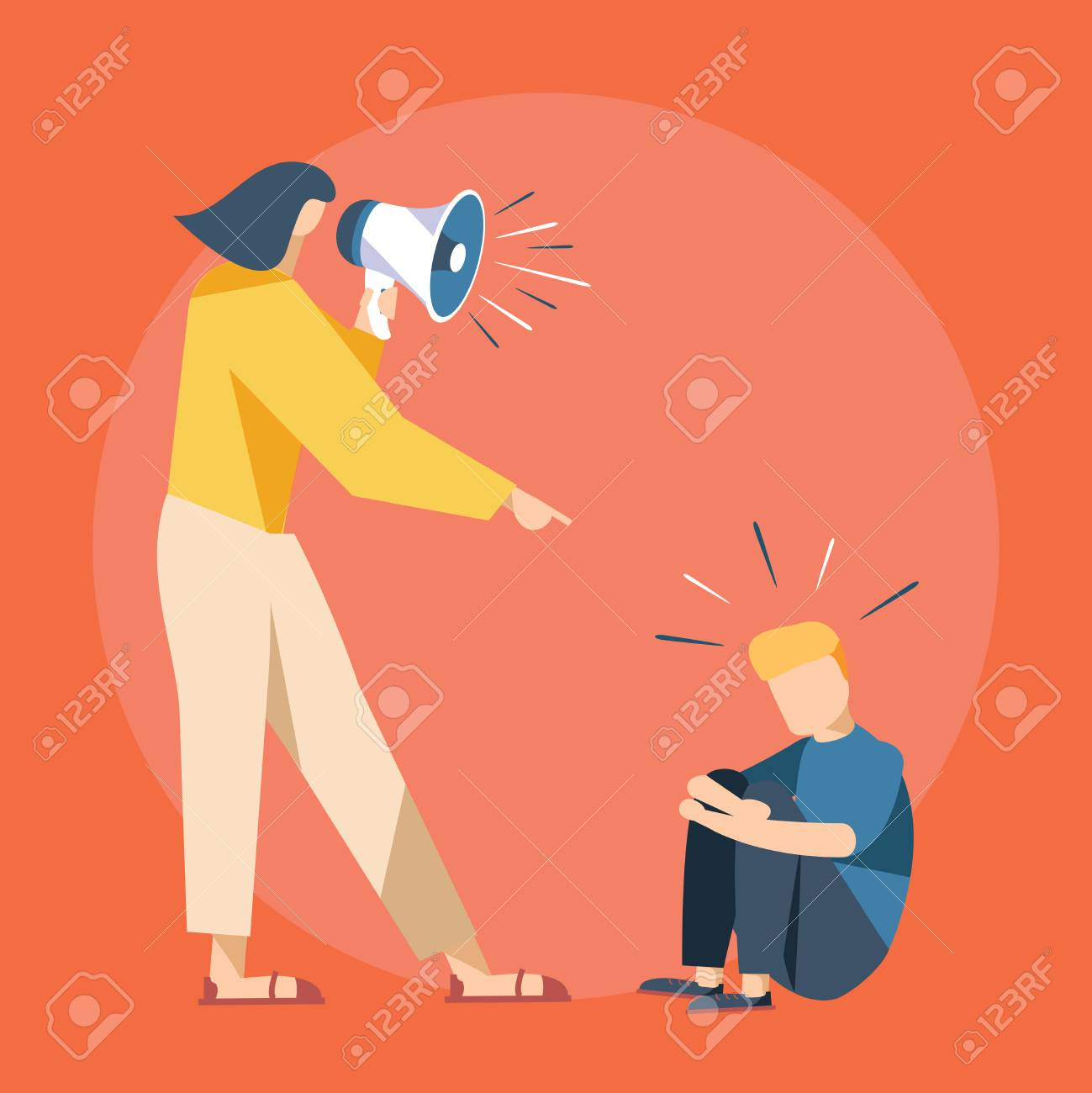 Vector cartoon illustration of Mother cry at boy with. Cute Boy crying and His Mom shot swearing in loudspeacker. Child abuse accident with paren yelling and young son unhappy. Family problems - 127213210