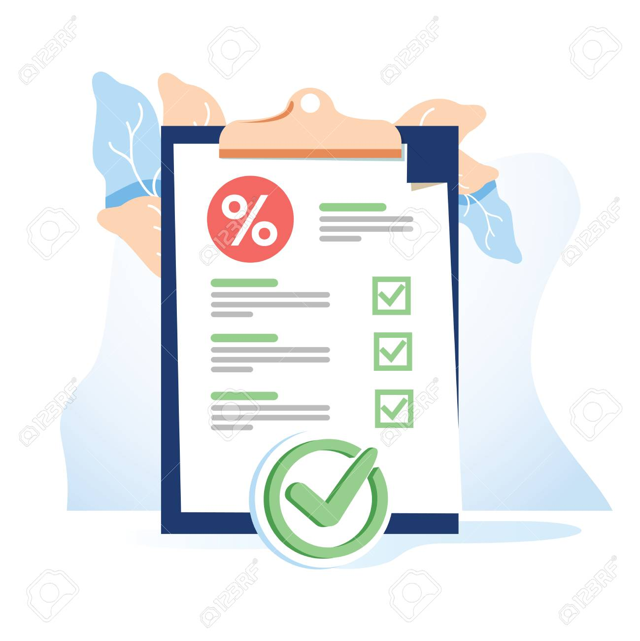 Vector flat illustration for web page or banner. Bank document of safe, dollars in a deposit or credit percent. Cashback finance, safe savings. Tax document paper sheet, business budget corporate cash - 127024660