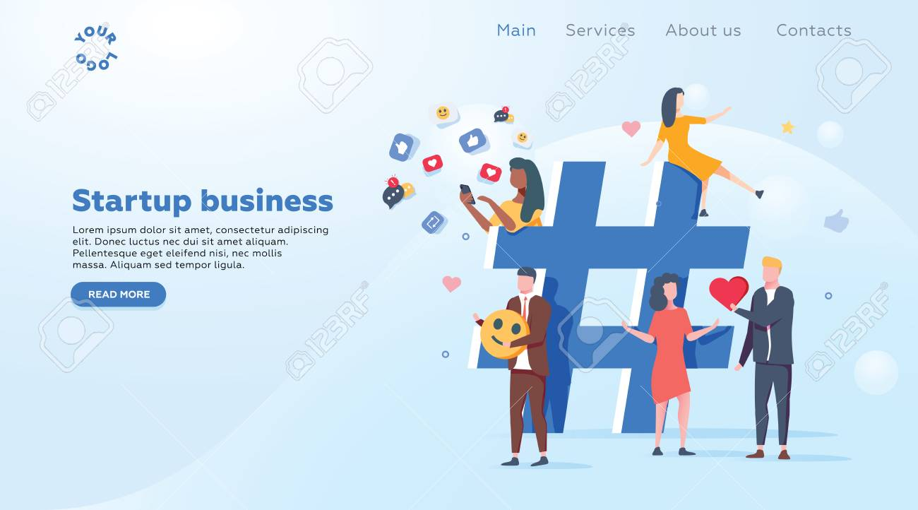 Relationship, online dating and networking concept - people sharing information via social media platforms and interacting with icons. Landing concept. Flat vector illustration. Social media marketing - 127024662