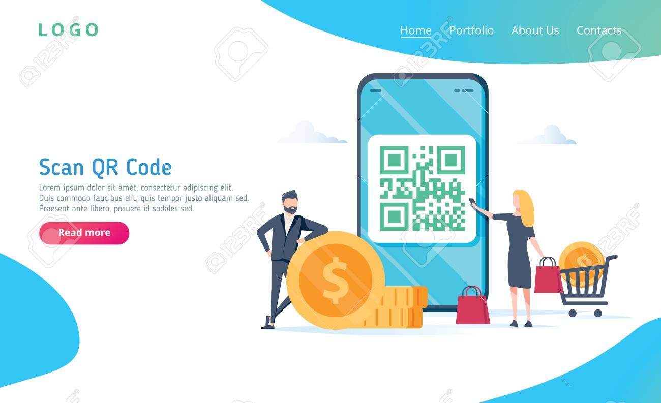 QR code scanning vector illustration concept, people use smartphone and scan qr code for payment and everything - 114597166