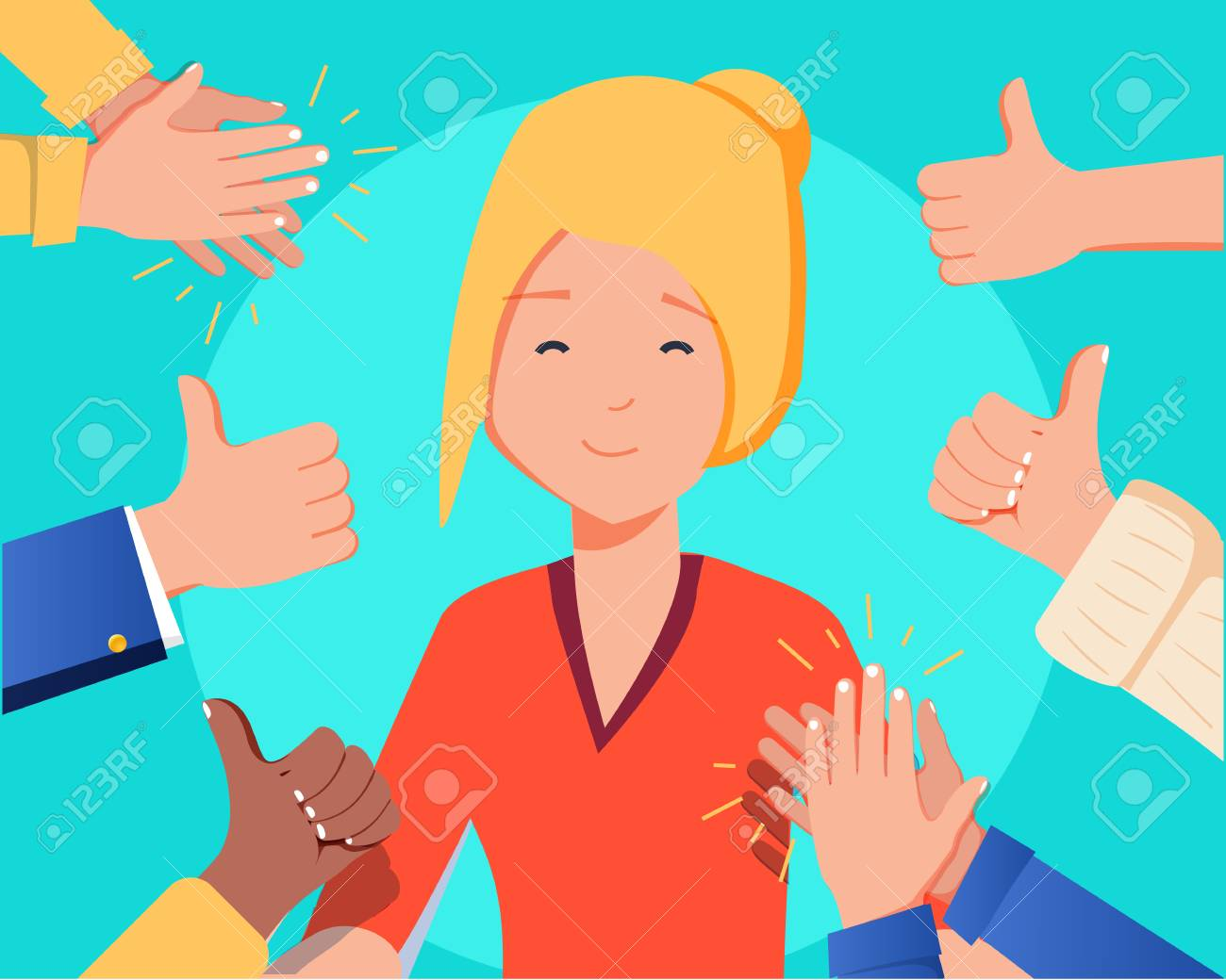 Happy woman portrait with thumbs up and human hands clapping isolated on background. Thumbs up flat hands for social network, blog and app. Party celebration concept. Happy woman, vector illustration - 126772593