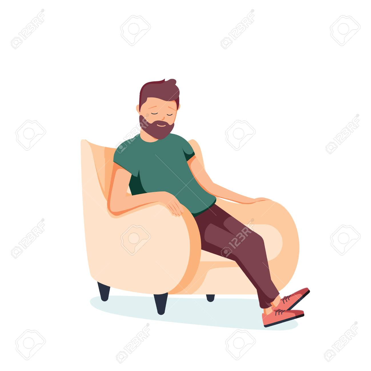 Bearded man sits in an armchair and sleeps. A person is resting or thinking about something good. Vector illustration in cartoon style. Tired businessman resting at home. Relaxation and healthcare - 126772598