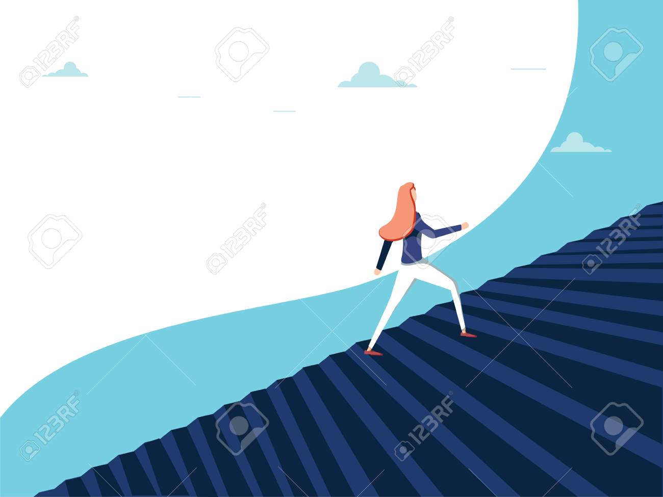 Buisnesswoman climbing career steps vector concept. Symbol of ambition, motivation, success in career promotion. Eps10 vector illustration. Business opportunity concept for feminism. Woman in business - 126360581