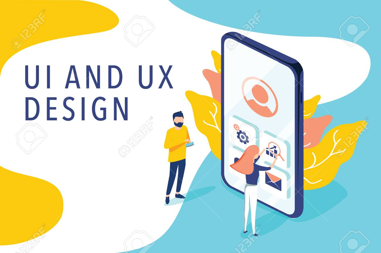 Isometric flat vector concept of UI and UX design process, mobile