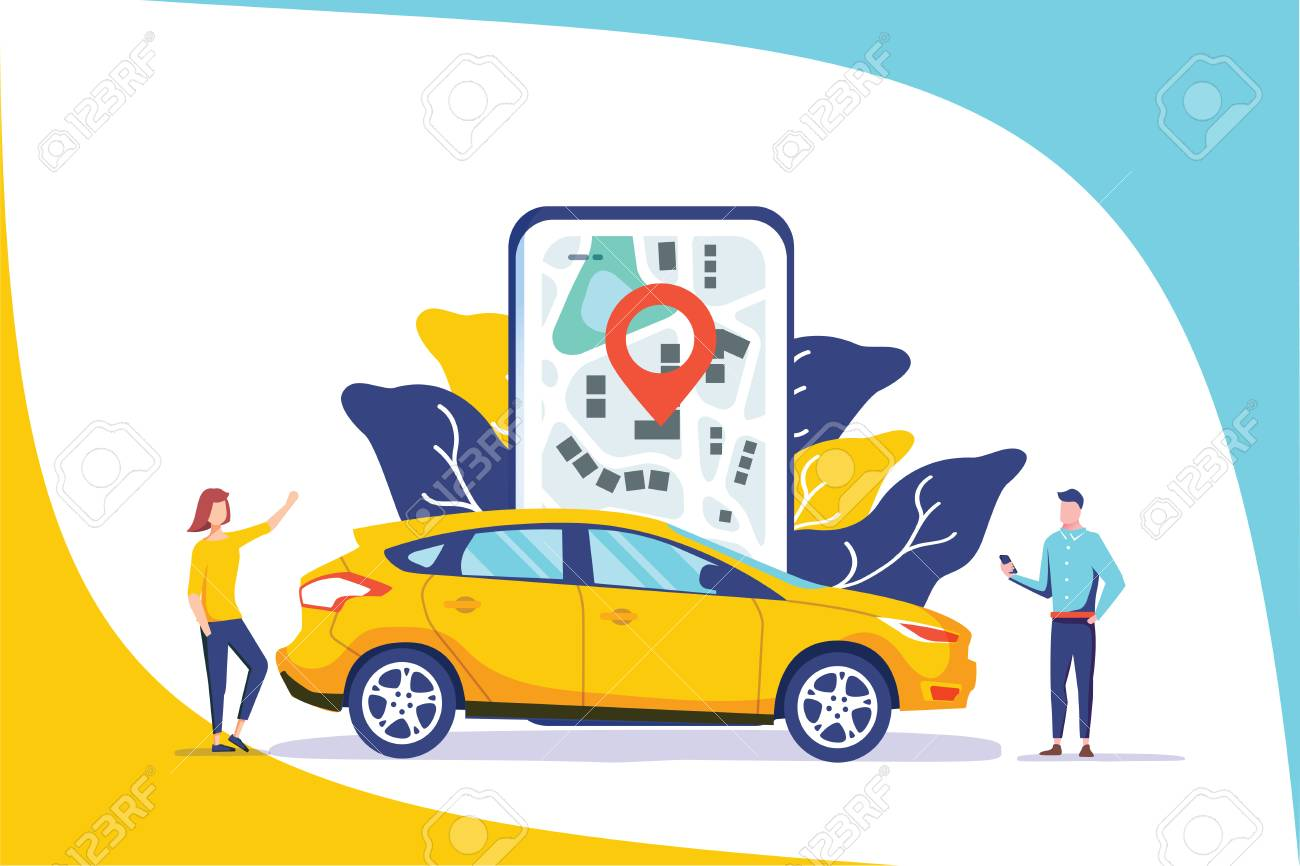 Online car sharing vector illustration concept, mobile city transportation with cartoon character and use smartphone, can use for landing page, template, ui, web, mobile app, poster banner or flyer - 126360585