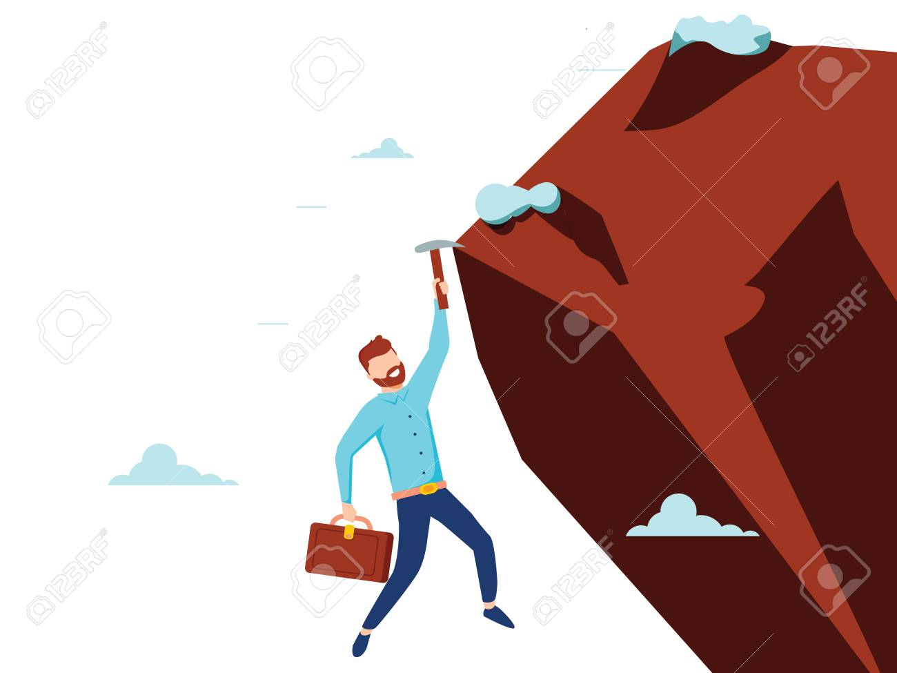 Vector flat style businessman climb the mountain cliff to reach his goal. Leadership concept. Minimalism design with people silhouettes. Symbol of ambition, motivation, success in career, promotion - 126360587