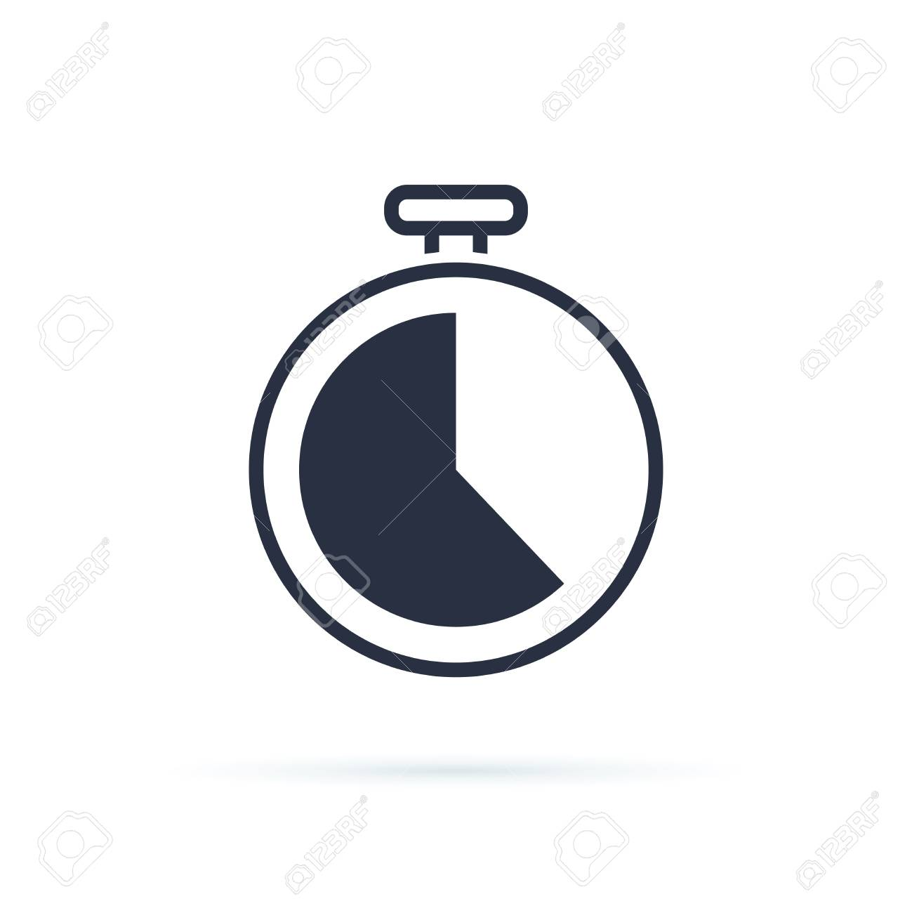 Time icon. Clock icon vector. Business deadline, clockwise countdown, working hours icon. Stopwatch symbol for speed or fast delivery isolated on white background. Timer or watch sign for website - 126132567