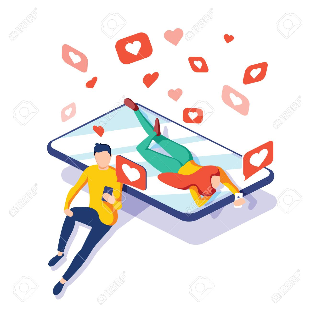 Virtual relationships, online dating and social networking concept, teenagers chatting on the Internet, vector 3d isometric illustration. Landing page concept. Chat with phone, smm or digital business - 126132572