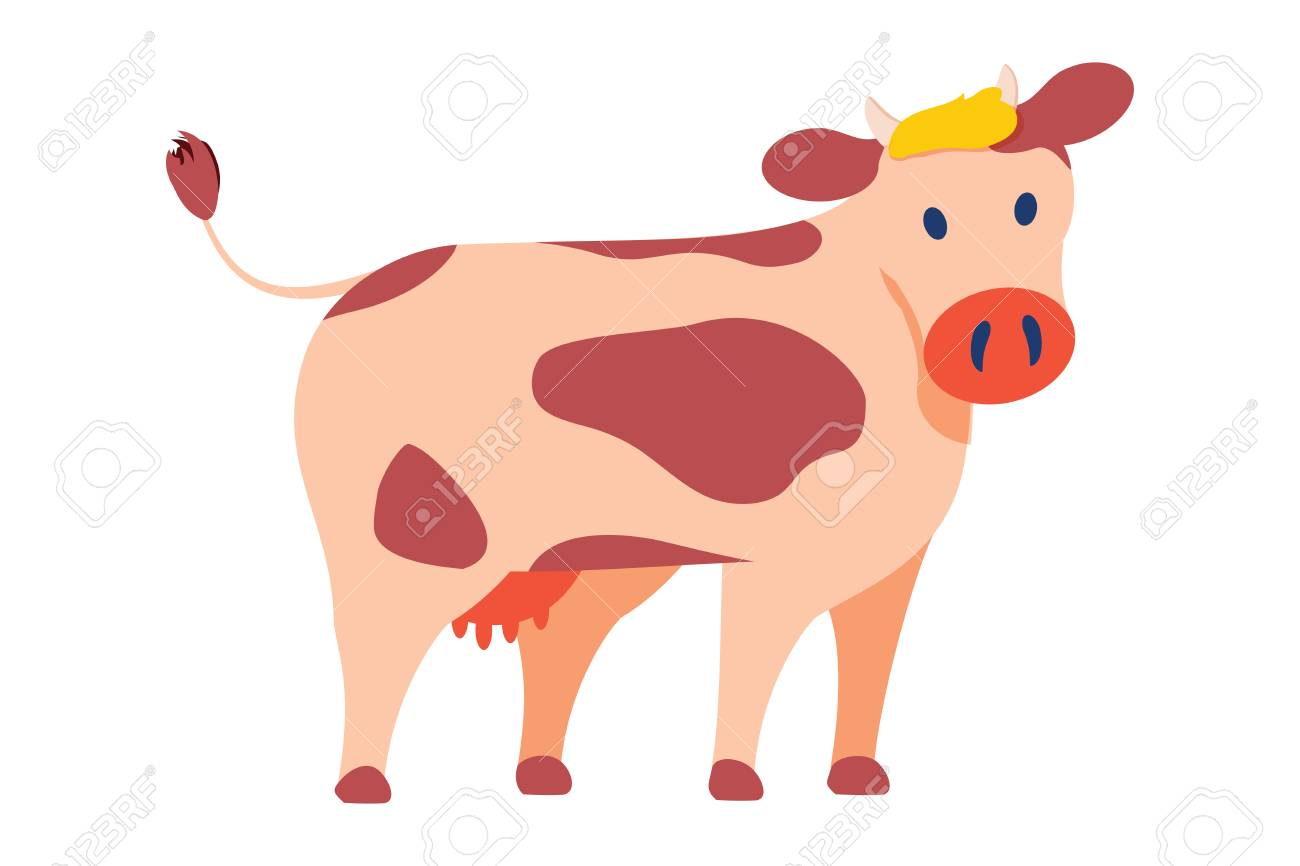 Cow emblem in simple style vector icon isolated on white. Big domestic animal, horned dairy cattle with spots on skin on back, with udder with milk. Agriculture animal symbol. Cow icon, cute pet - 126132573