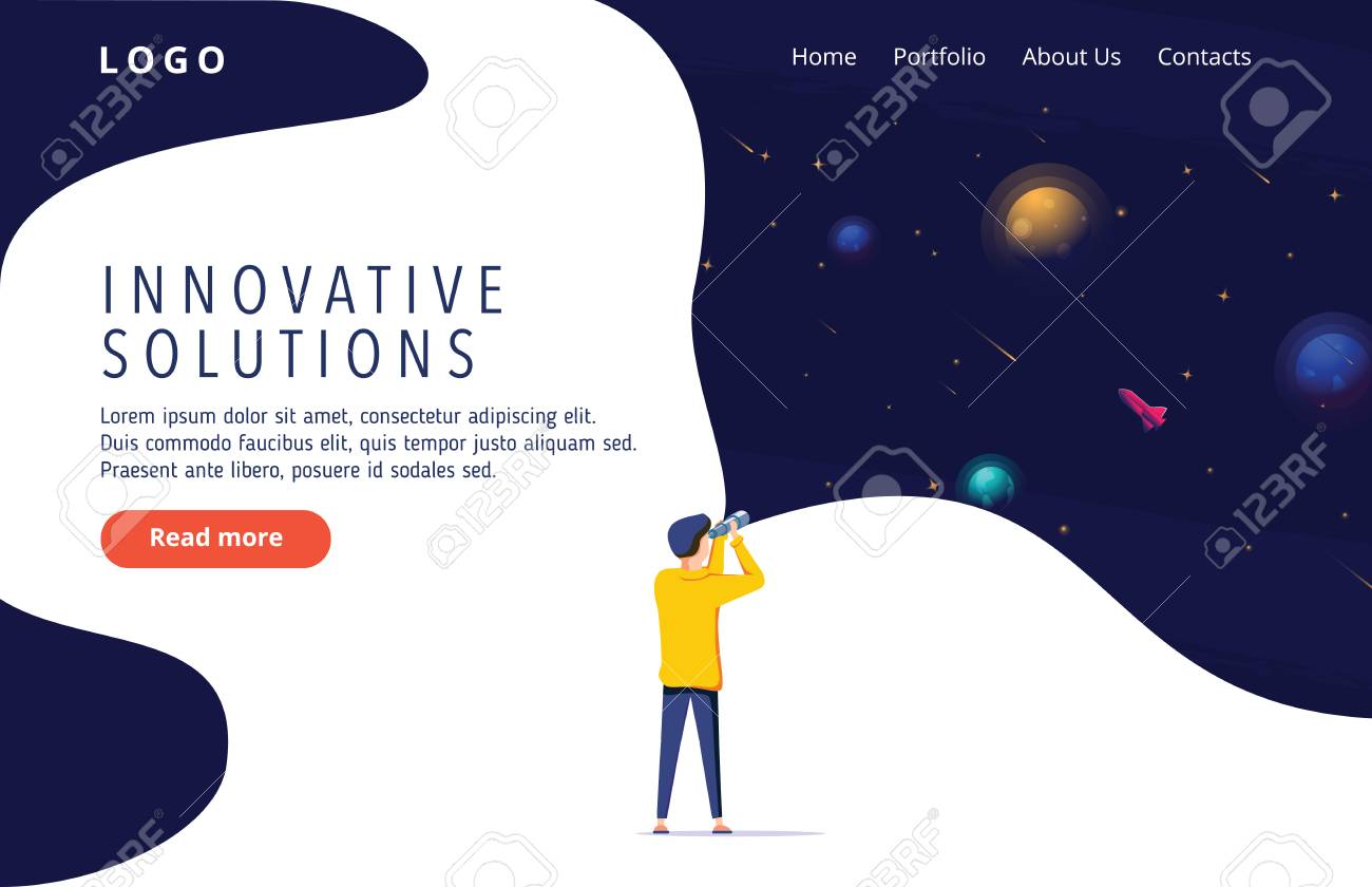 Man exploring space. Vector illustration flat design. Use in Web Project and Applications. Landing page concept for innovative solution search. Innovation, research, business vector illustration. - 125945284