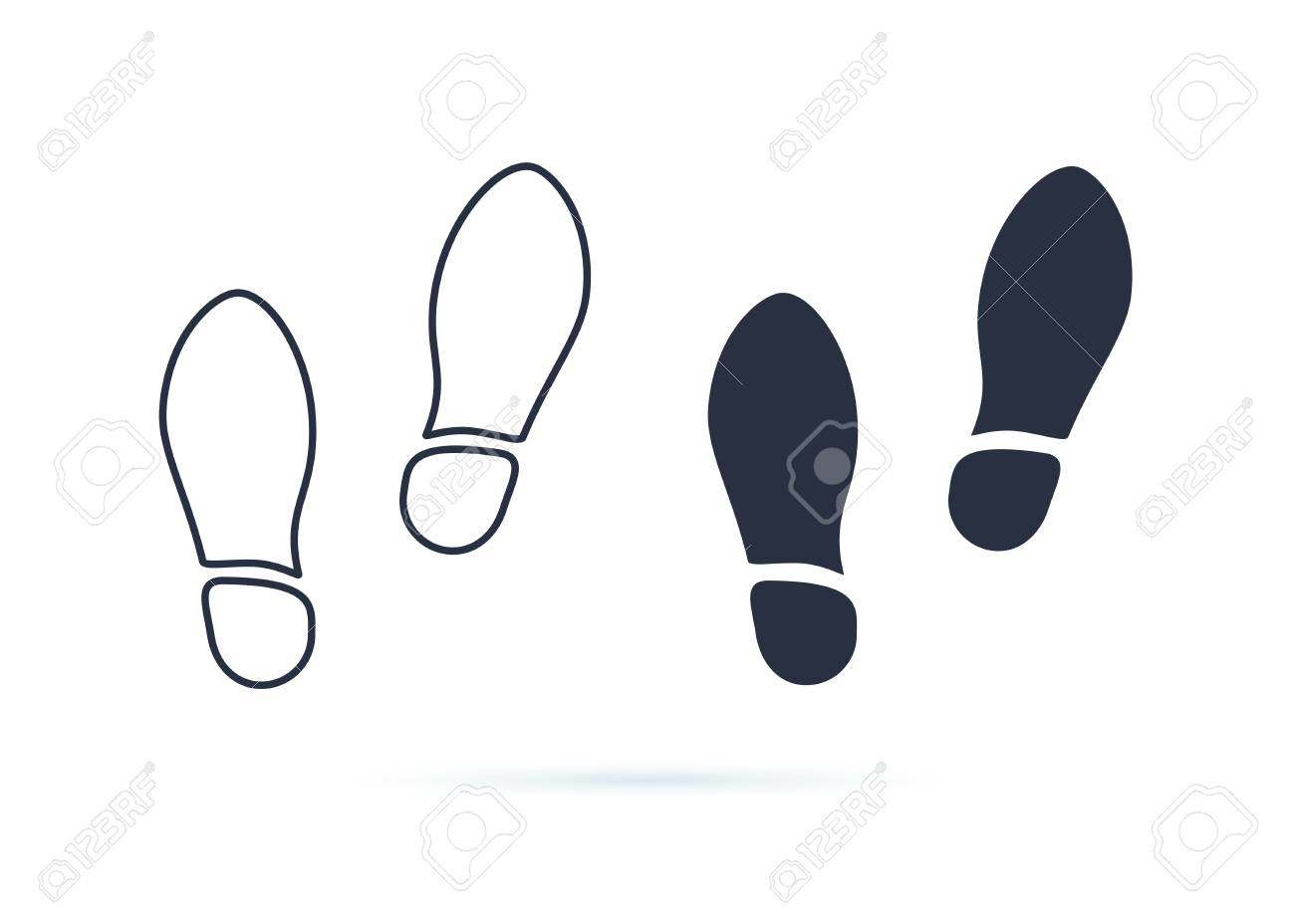 Shoes Footsteps icon vector. Pair of shoes on white background. New sneakers or boots concept symbol. Top view, flat icon. Linear and solid icons set for footwear store. Walking healthcare life - 125945289