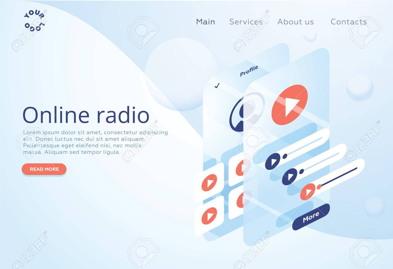 Concept of internet online radio streaming listening  Music applications,