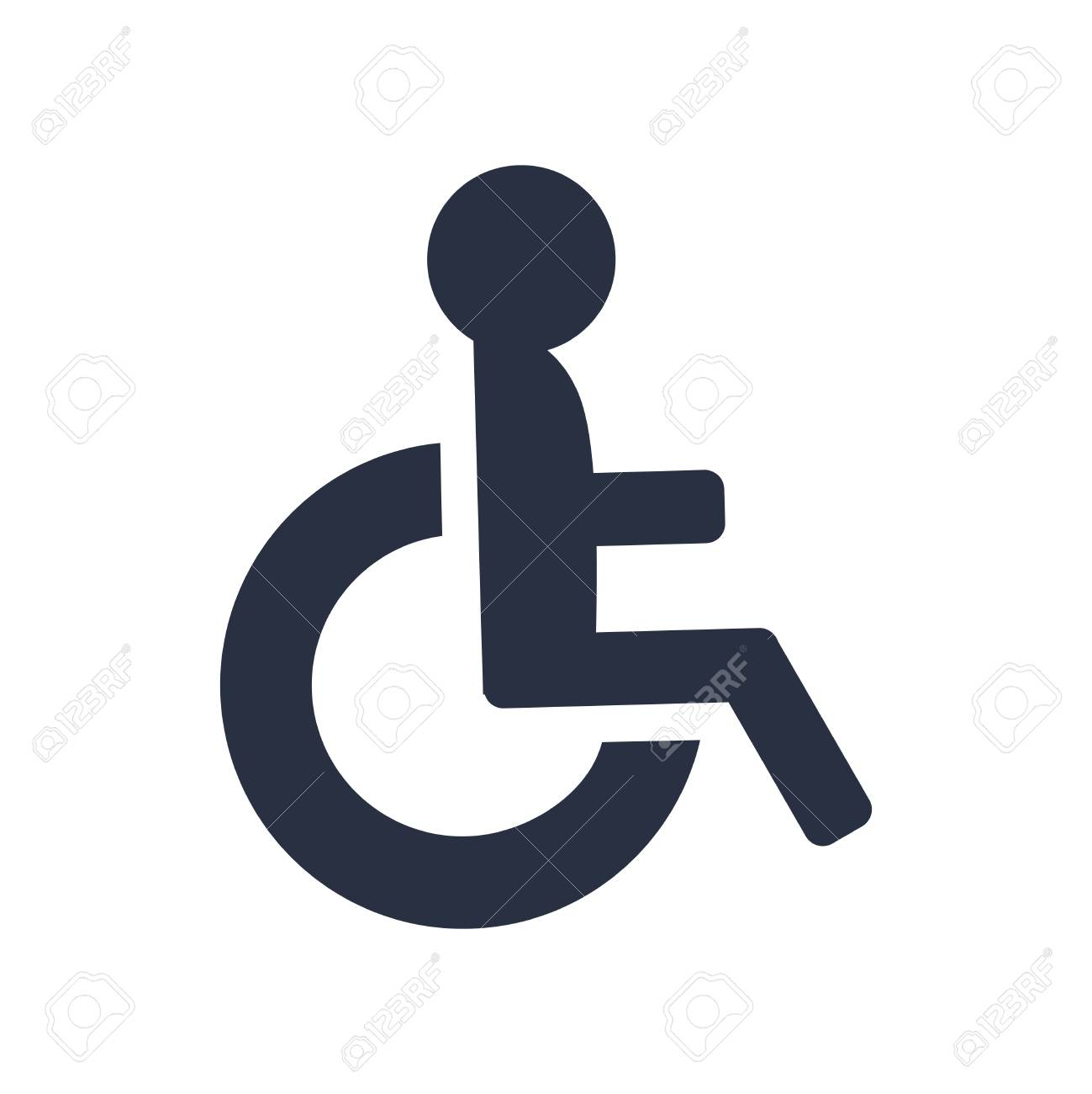 Disabled icon vector, wheel chair symbol. Disabled Icon vector. Simple flat symbol. Perfect Black pictogram illustration on white background. Accessibility icon, people transportation, wheelchair. - 125733800