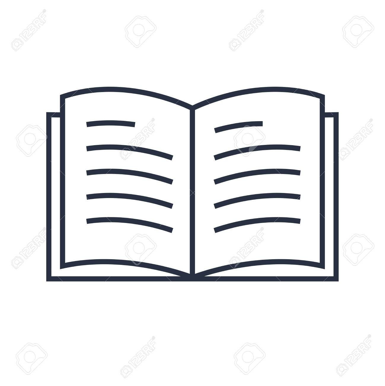 Book line icon vector. Minimalistic modern linear icon for education. Diary, book icon, concept for reading. Online reader sign. Simple study logo, library, magazine. Textbook isolated on white - 125733805