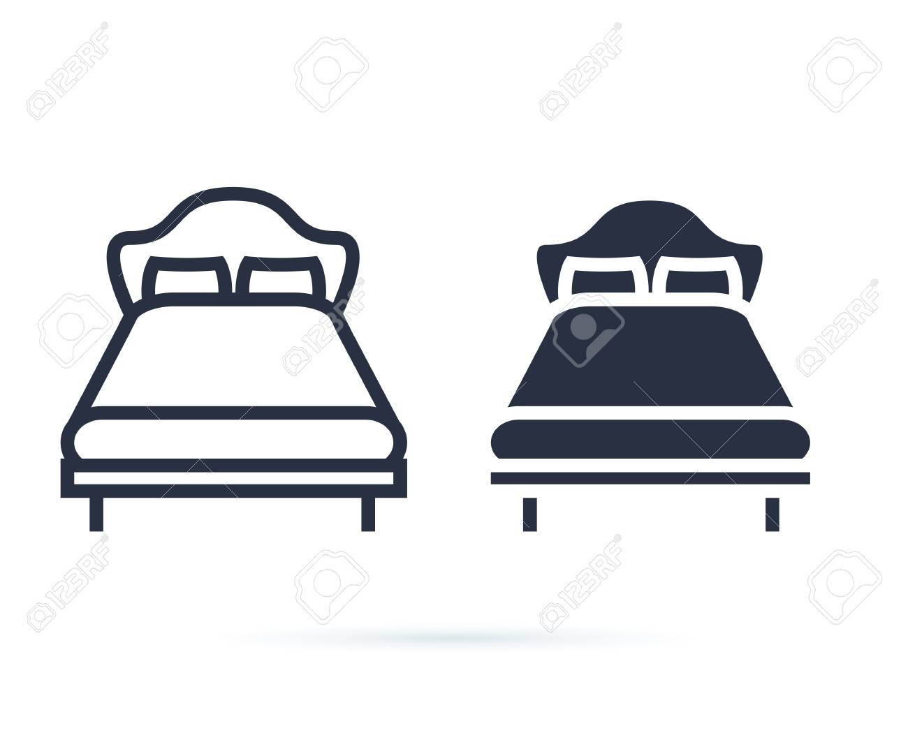 single bed. linear icon. Line and solid icons set for hotel, room. Double bed for couple, rest, hostel. Bed for two persons with a pillow and a blanket in a flat style. Isolated Vector illustration - 125498782