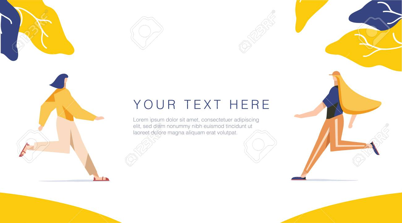 Runnning girl in the walk. Use in Web Project and Applications. Happy women or girls running together. Female, union of feminists, sisterhood. Shop sale banner for Website or Web Page vector - 125498783