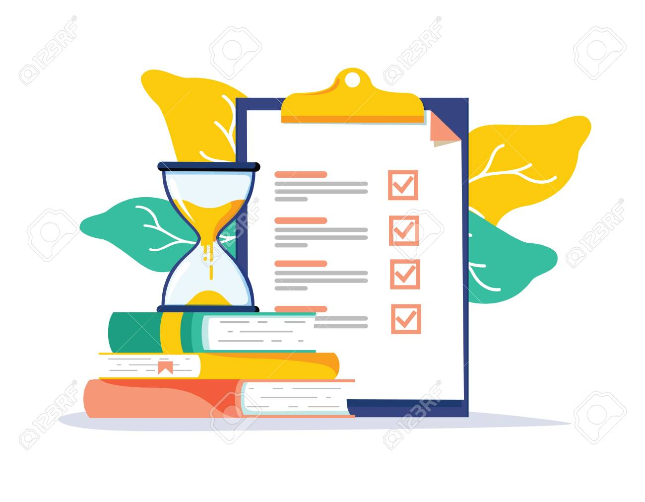 Exam preparation school test. Examination concept checklist and hourglass, choosing answer questionnaire form, education vector flat illustration. Online course learning exam. Fill out form summary - 125498787