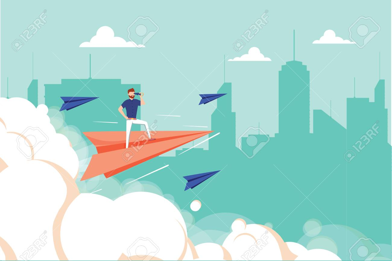 Concept graphic design of businessman on airplane looking in future with spyglass against cityscape. Business unique, successful businessman. Man looking forward, career concept and profit growth - 125498788