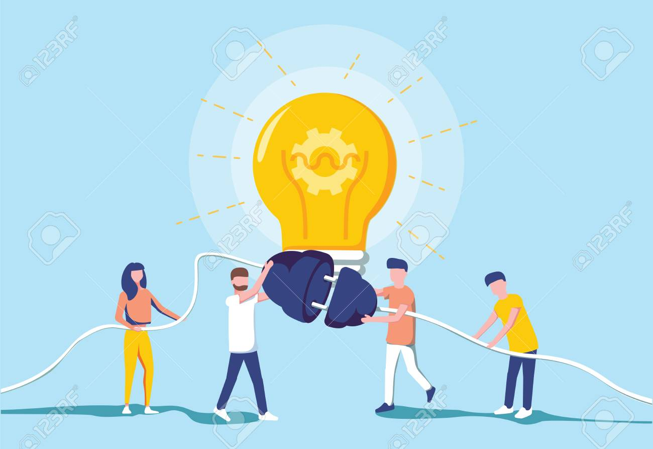 Business people and generating electric power for a large bulb. Idea generation. Brainstorm and teamwork cooperation concept. Modern vector illustration. Switch electricity on. Success business. - 125112362