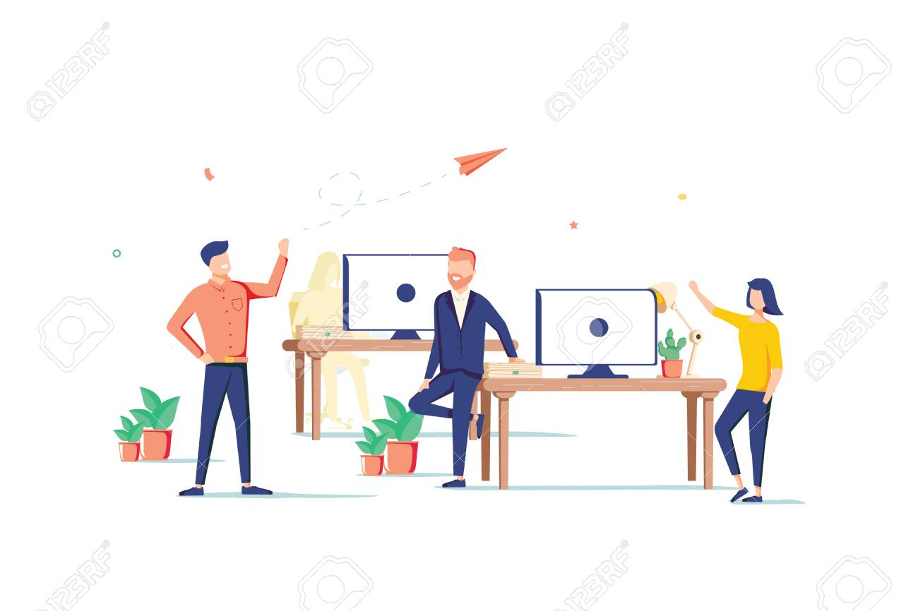 Coworking space flat design style colorful illustration on white background. High quality composition with male, female freelancers, business people working with laptops, computers in one open place - 125112364
