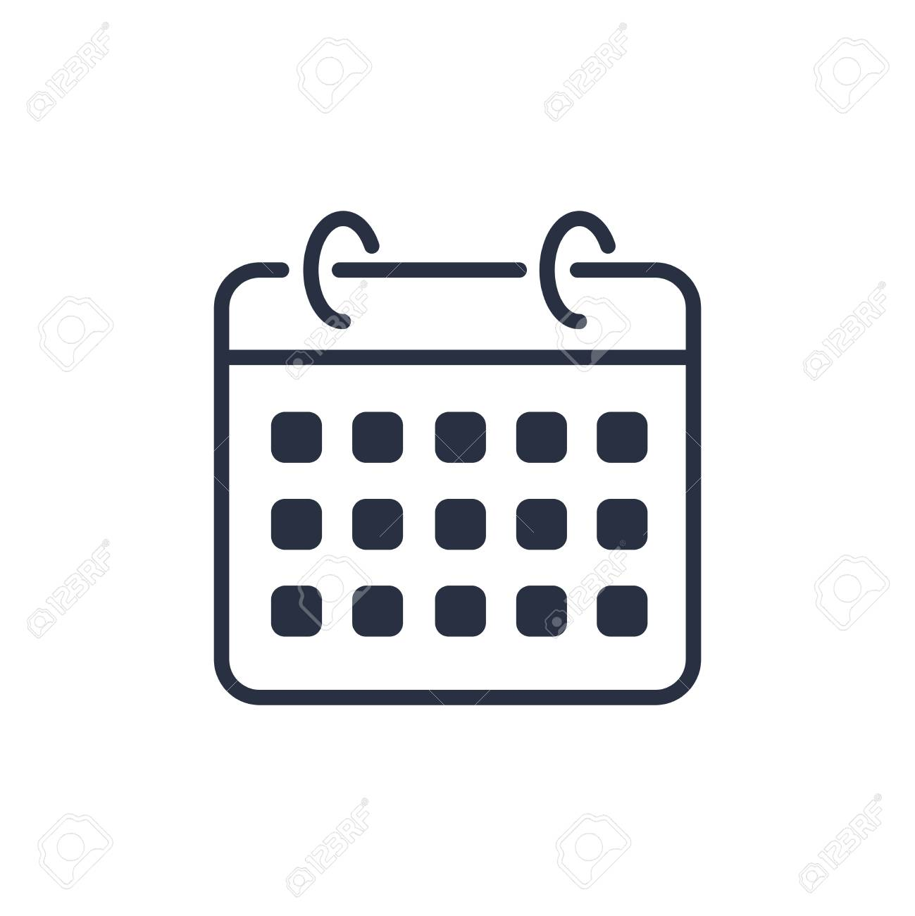 Calendar icon vector. Agenda app, business deadline, date page icon. Vector illustration isolated on white background. Reminder, shedule line simple sign. Organizer concept. Binder modern minimalistic - 125112365