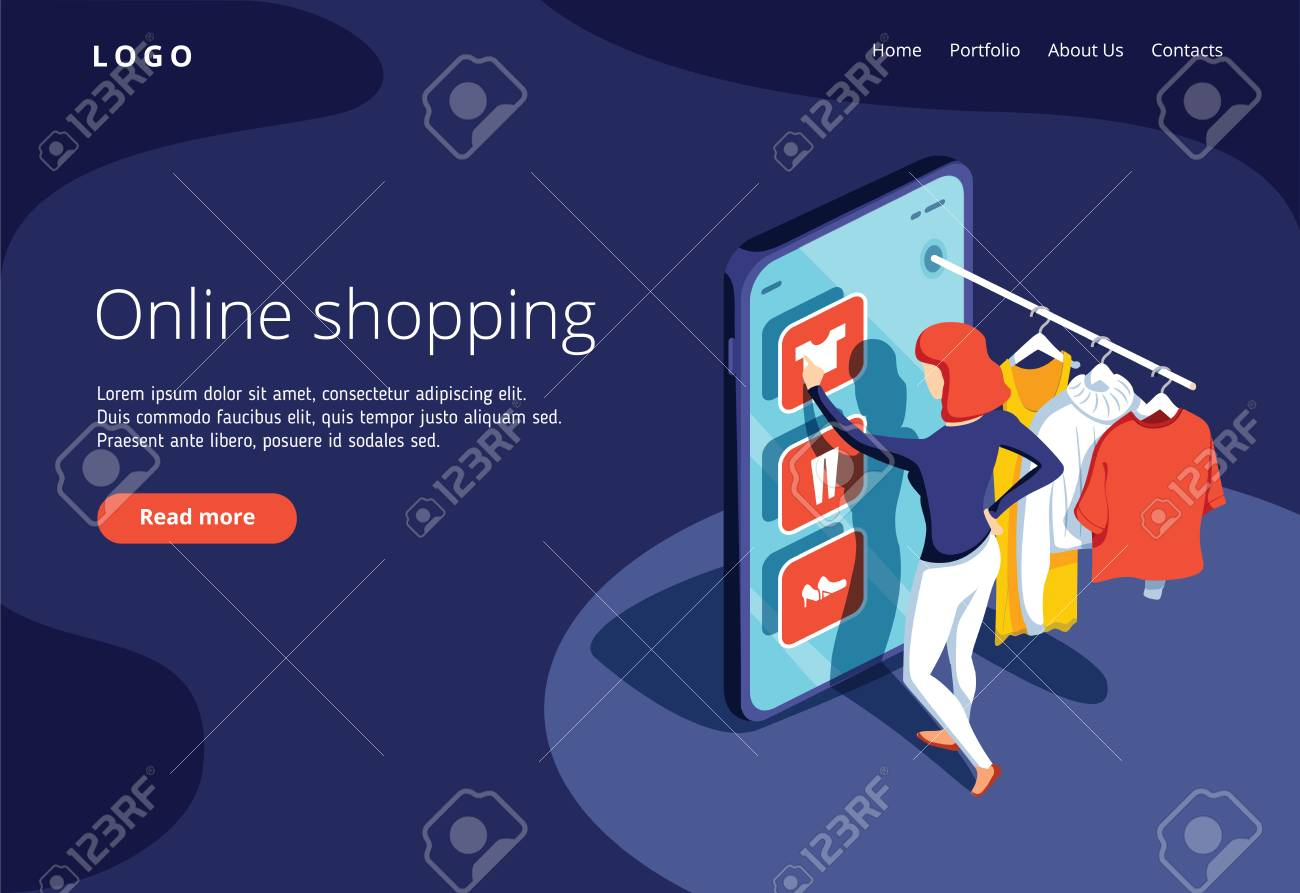 Sale, consumerism and people concept. Young woman shop online using smartphone. Landing page template. 3d vector isometric illustration. Ecommerce website concept, online shopping, sale banner - 125112368