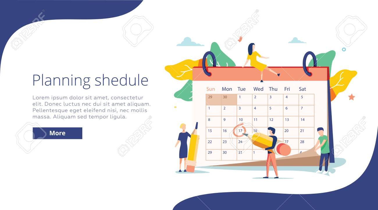 Planning vector illustration. Flat mini persons concept with schedule calendar. System to organize daily routine. - 121663097