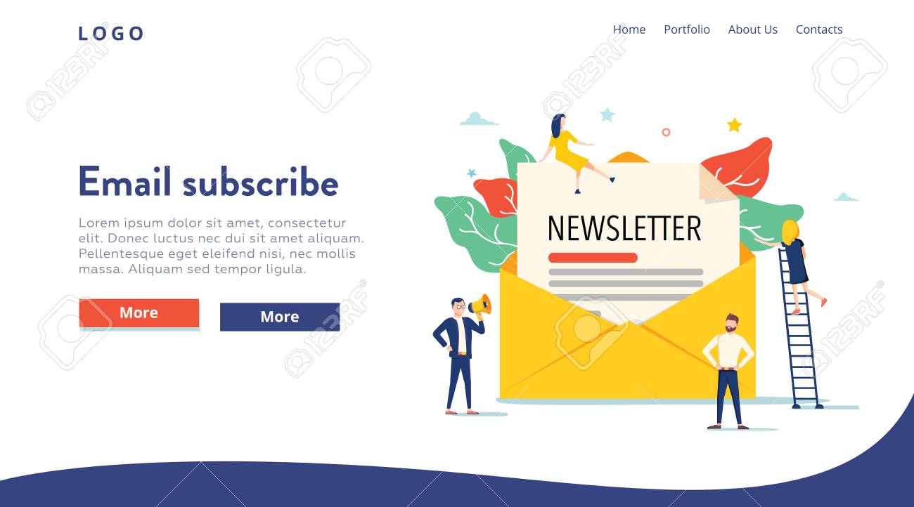 Email subscribe vector illustration concept, email marketing system, people use smartphone and subscribe, newsletter. - 121663104