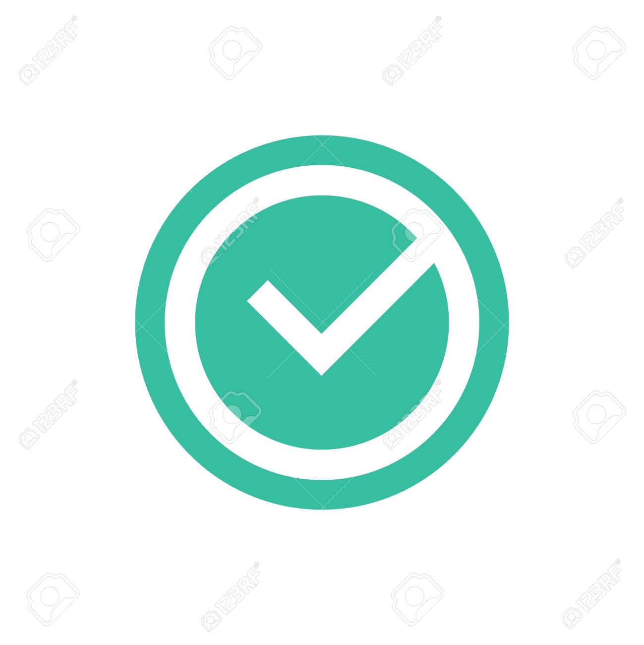 Check mark vector icon, approved ok symbol. Green tick checkbox vector illustration isolated on white background. Ok icon, approved, right answer,tick sign for website,banner,infographic. Confirmation - 124714347