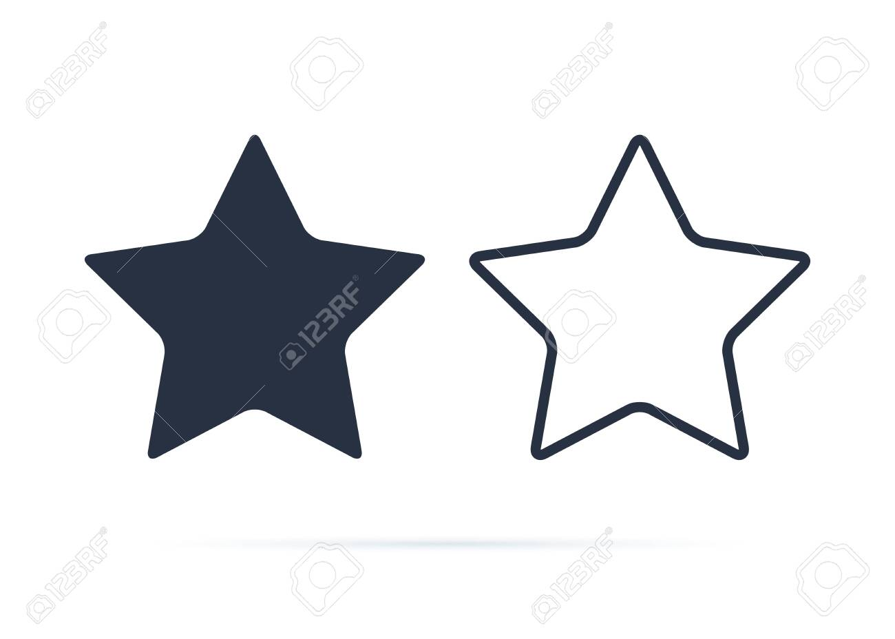 Star symbol, Star icon vector. Reward, rating symbol button. Solid and line icons set for success or rate design. - 121663108
