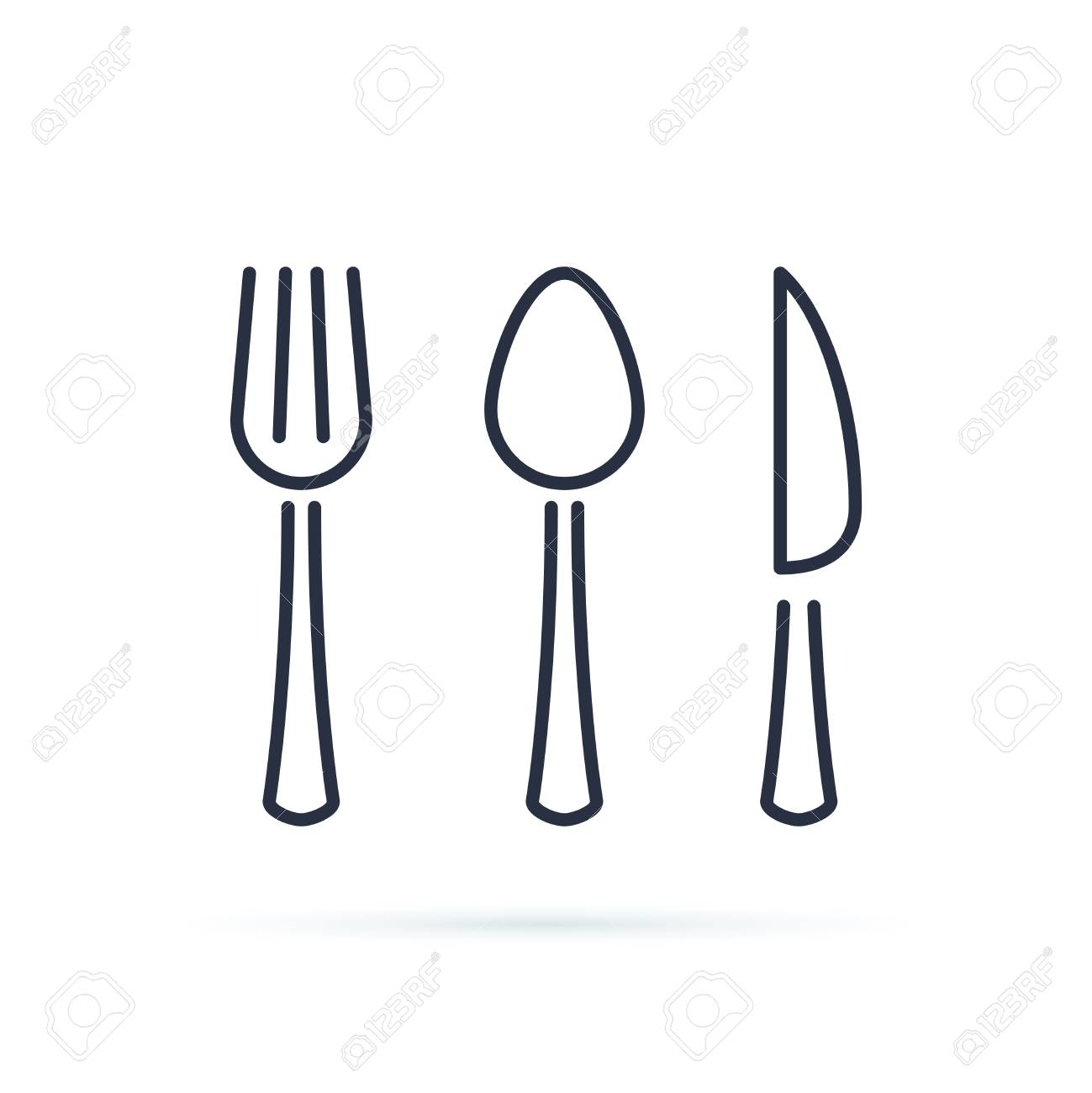Spoon, fork and knife icon vector. Cutlery icon symbol. Cutlery line icons isolated on white background. Cafe or restaurant symbols, stroke dishware. Dinner tableware. Set of dessert cutlery. - 124688348