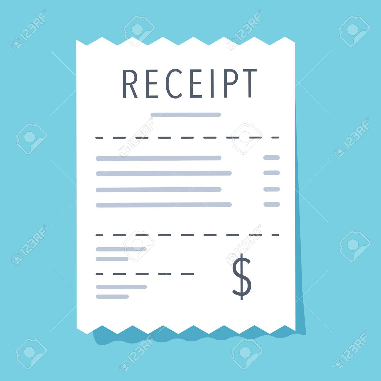 Receipt icon. Flat design. Vector illustration. Financial account, bill, invoice. Bank document icon for business website, infographic, banner. Money payment order. Purchase receipt modern vector - 124688350