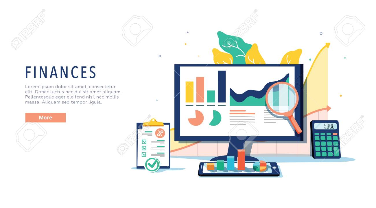 Finance and innovative mobile technology concept. Isometric vector of financial apps and services on laptop and modern gadgets on white background. Banking online system, website template. E-banking - 124688357
