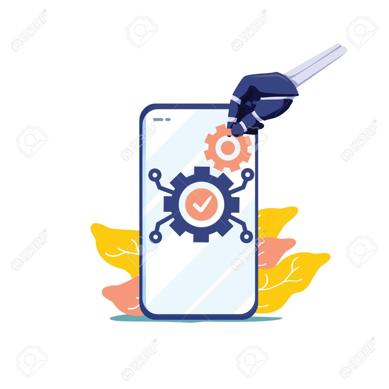 Human resources automation vector illustration. Flat tiny person work concept. 21st century challenge - workforce employment social crisis. Digital era algorithm artificial intelligence domination. - 124424489