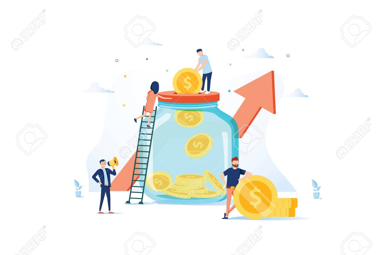 Money Savings Concept. Business People Characters Investing Money on Bank Account. Moneybox, Safe Deposit, Banking. Vector illustration. Economy, finance and banking concept. Deposit savings - 124424494