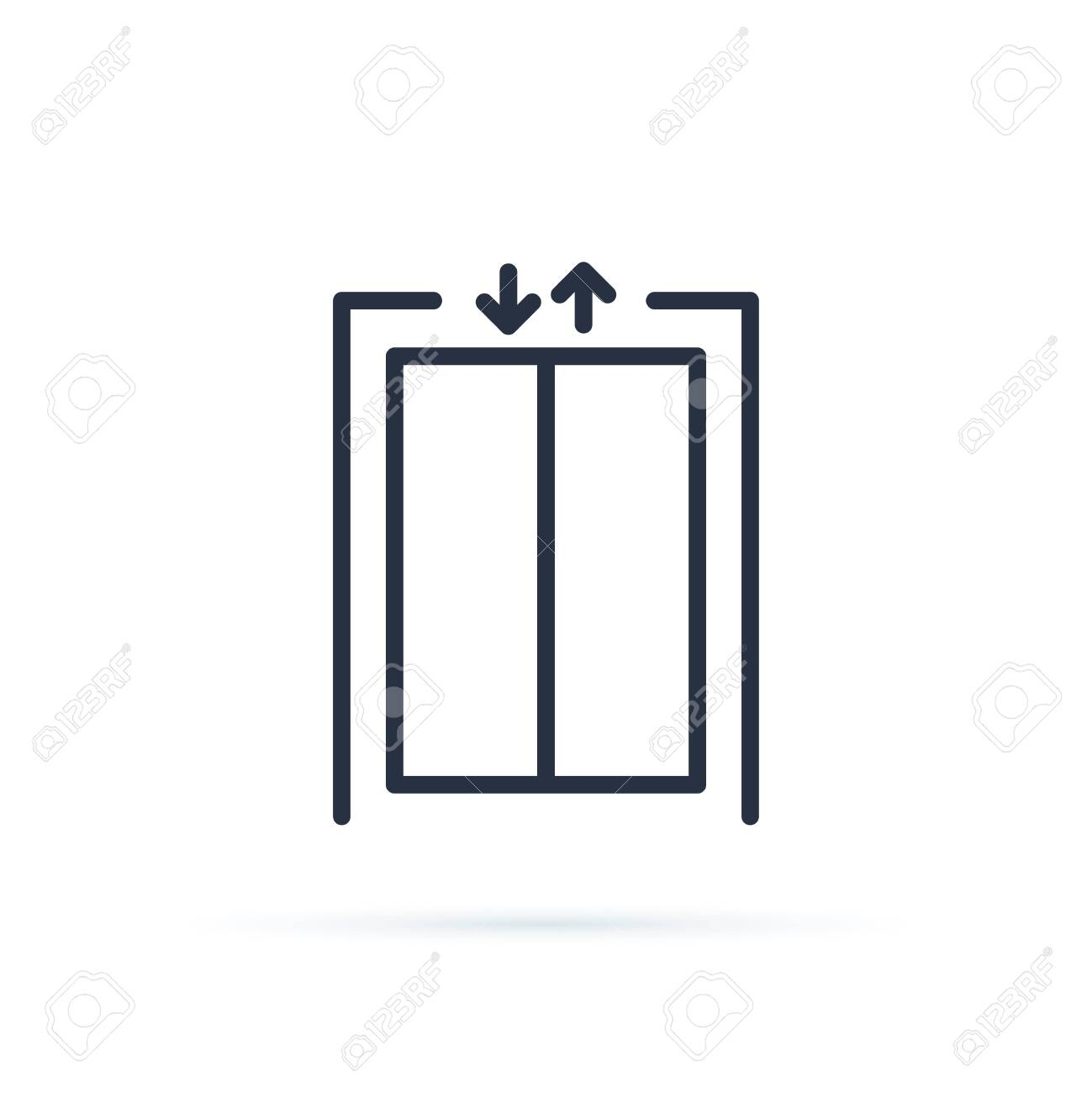 Lift vector icon. Blank closed elevator in office floor interior, front view. Empty lift. Concept of business center or hotel lifting template. Elevator icon vector. Escalator, down, up symbol. - 124424495