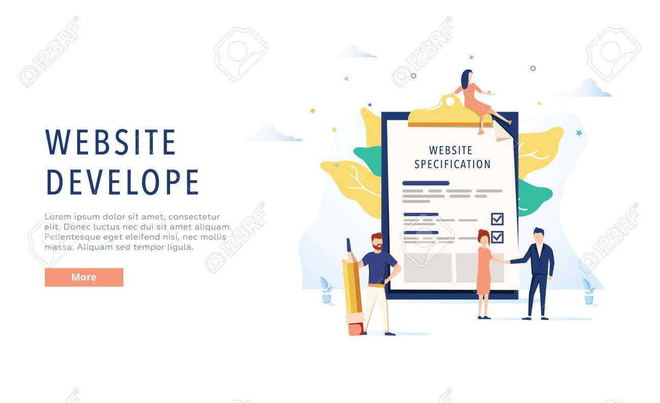 The design of the web site. Website specification web banner template. Flat vector illustration. Web development website template. Design document for IT company. Software business, programming. - 124424496
