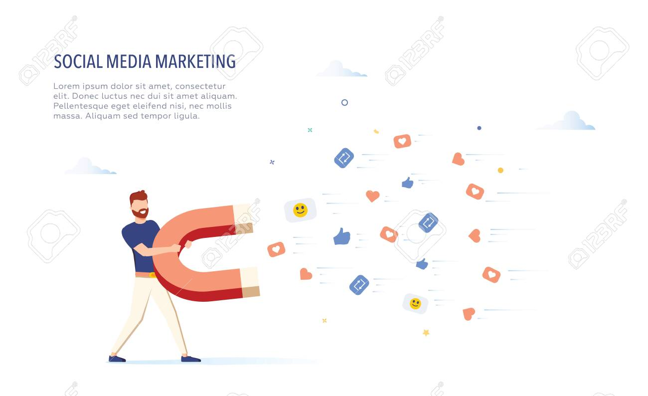 Businessman attracting likes signs with a huge magnet. Social media marketing concept. Modern vector illustration. - 121663437