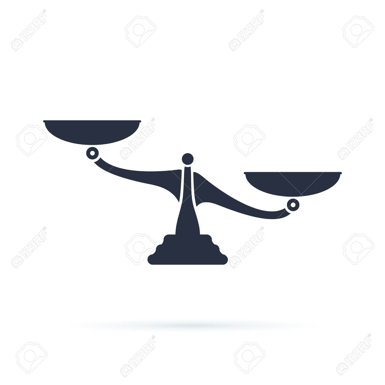 Scales, Flat design, vector illustration on white background. Libra, balance vector icon. Weight symbol. Compare concept, analysis or equality measure. Solid icon for web isolated on white - 123990180