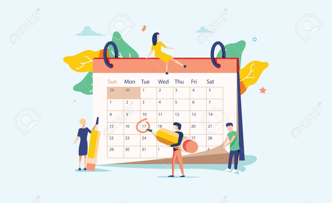 Planning vector illustration. Flat mini persons concept with schedule calendar. System to organize daily routine. - 121663444