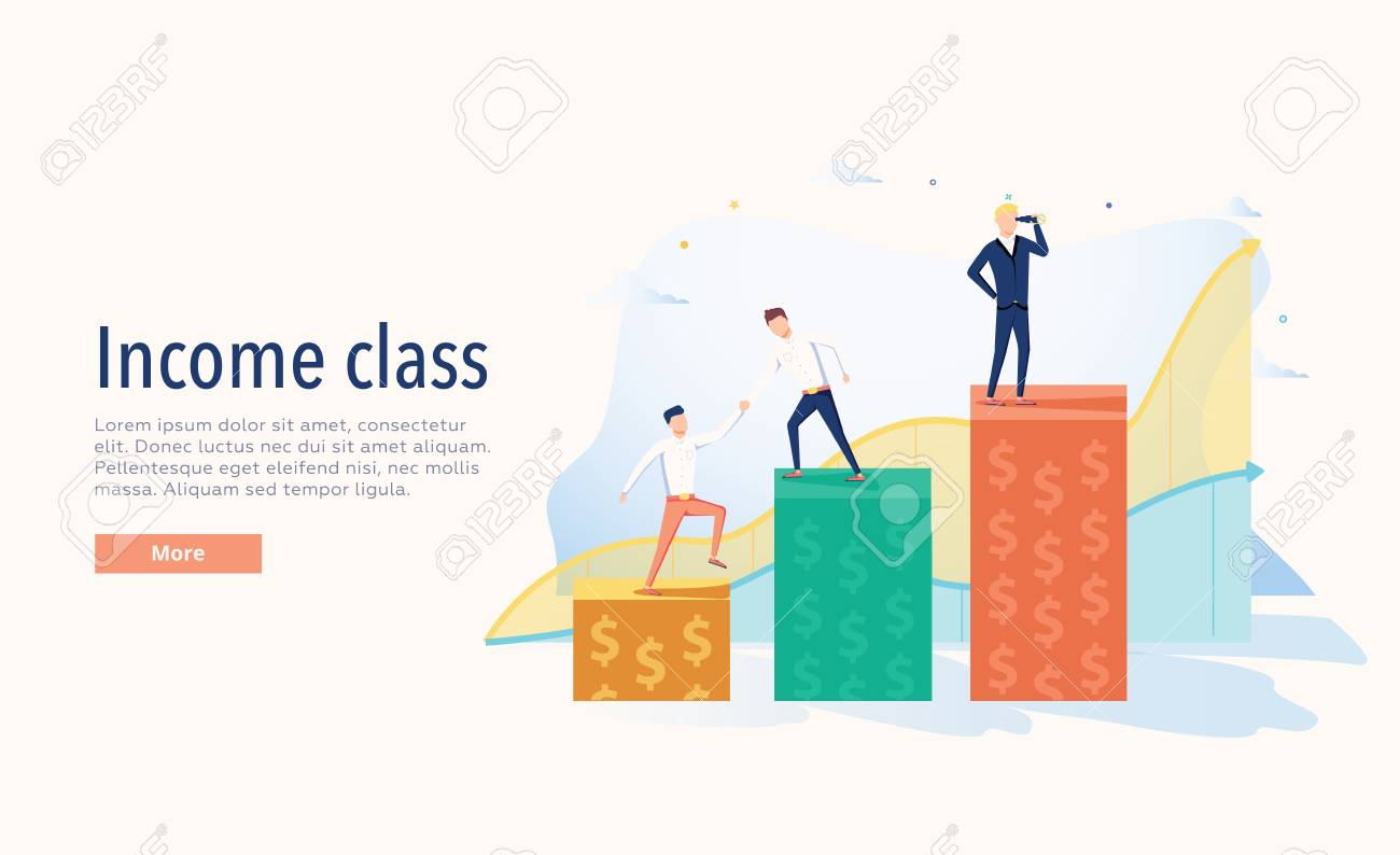 Income class vector illustration. Flat three levels tiny persons wealth concept. Economical system symbolic chart. - 121663448