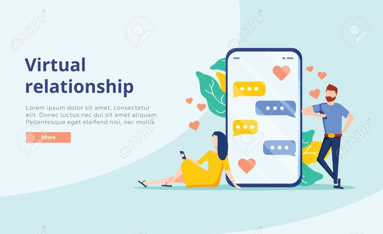 Virtual relationship vector concept. People young couple chatting in the smartphone screen. Virtual dating. Flat vector design. Business chat, dating app for partner search website concept. Background - 123990183