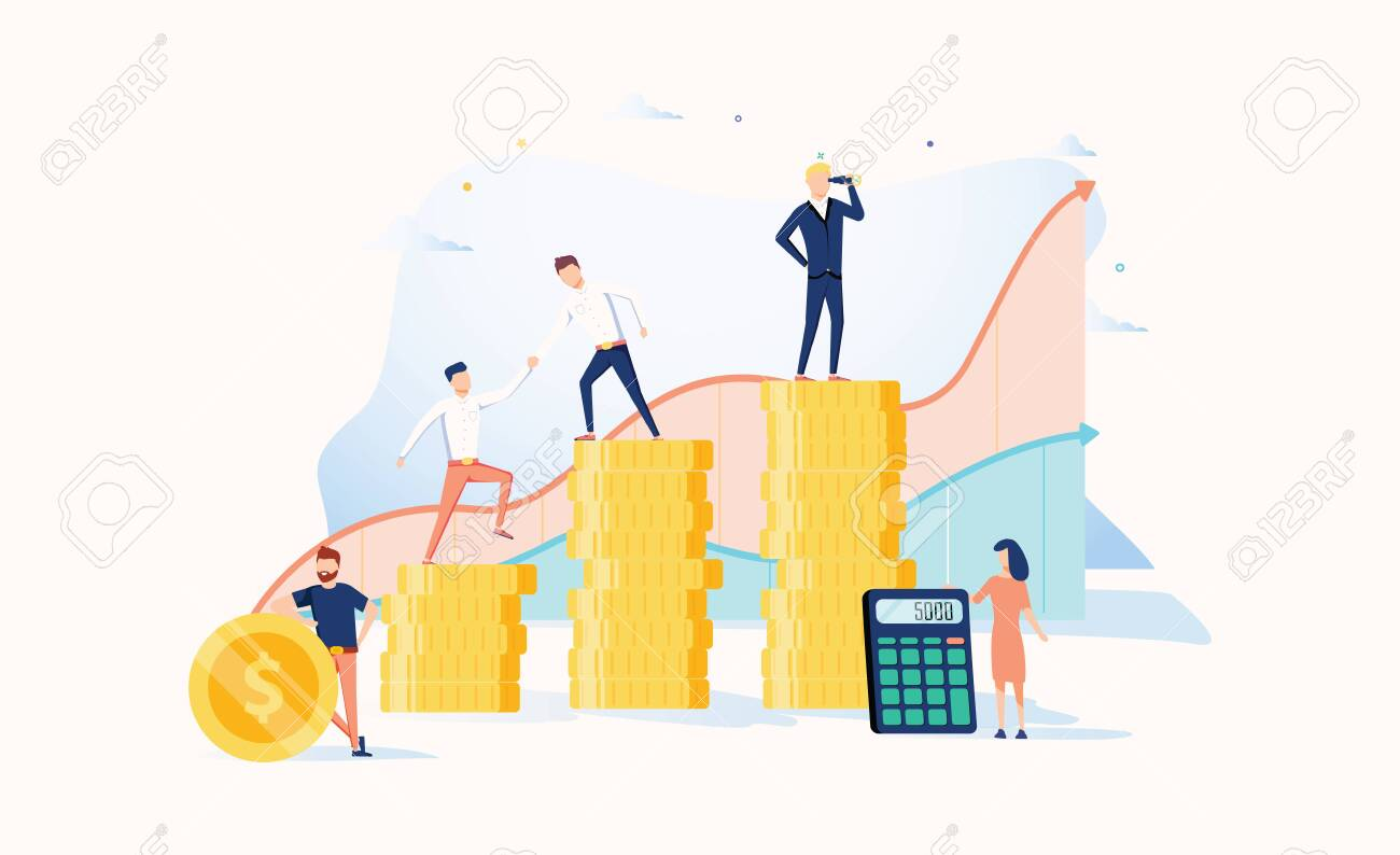 Career growth to success. Business people. Vector illustration. Achievement concept. Financial wealth and work promotion. Teamwork process with graph progress. People workins together, help each other - 123990189